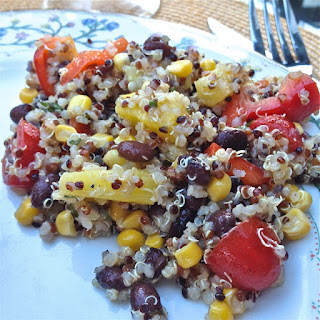 Quinoa Salad With Black Beans, Corn, Red Peppers and Pineapple.