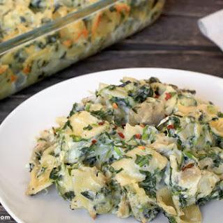 Spinach Artichoke Pasta Casserole.