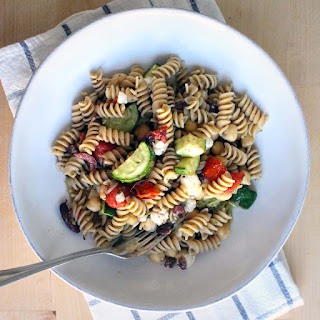 Antipasto Pasta Salad (with chickpeas, olives, and roasted vegetables)