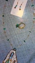 Photo: Copper enamel pendant, aventurine, frshwater pearls, brass, 14K gold vermeil  SOLD/ПРОДАНИЙ