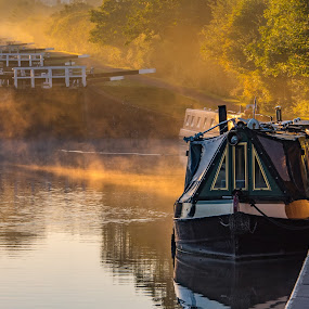 Morning Glory by Mike Hayter - Landscapes Waterscapes ( barges, caen locks, england, kennet & avon, sunrise, devizes, mist )