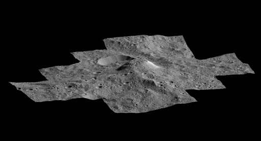 This side-perspective view of the mysterious mountain Ahuna Mons was made with images from NASA's Dawn spacecraft.