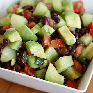 Black Bean, Avocado, Cucumber and Tomato Salad.