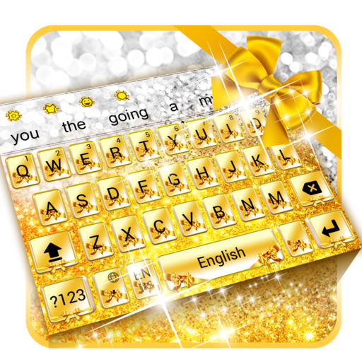 Gold Glitter Bowknot Keyboard app (apk) free download for Android/PC/Windows