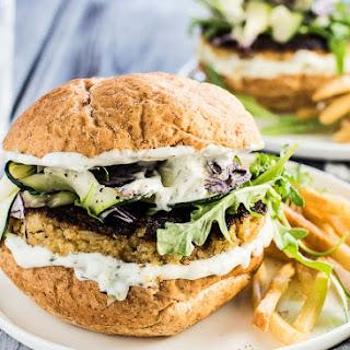 Quinoa Ranch Cauliflower Burgers with Zucchini Coleslaw.