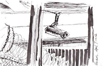 Photo: 監視器、刺絲網、鐵窗2012.04.07鋼筆 監獄是最沒隱私和自由的地方,處處都是監視器、刺絲網和鐵窗…