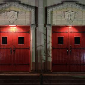 red doors by Jason Arand - Landscapes Travel ( doors, red doors, building, red, lighting, church, door,  )