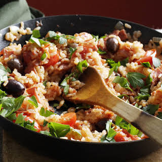 Baked Salami and Tomato Risotto.