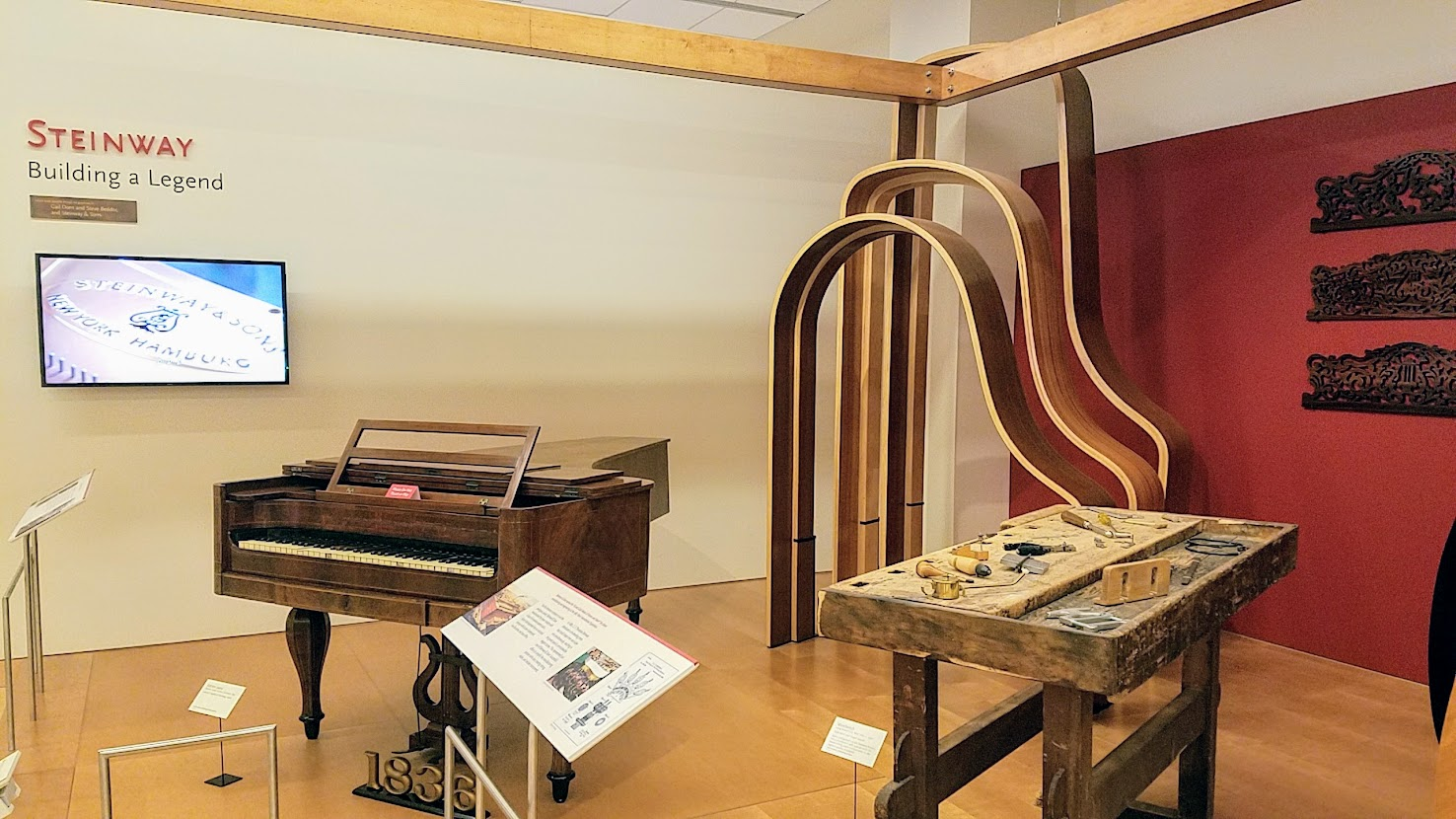 Music Instrument Museum (MIM) Geographic galleries, Steinway Exhibit, details behind the instruments were also included among the exhibits, with very informative longer videos with instrument makers explaining what is inside and where the parts all come from, and how they are assembled.