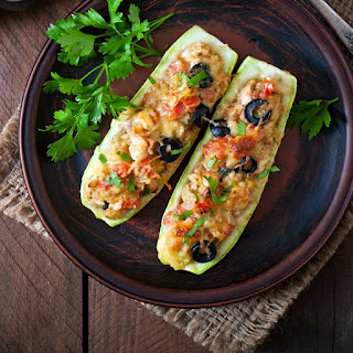 """Rotisserie Chicken Enchilada Zucchini Boats"""" difficulty=""""Easy"""" Time=""""30-35."""