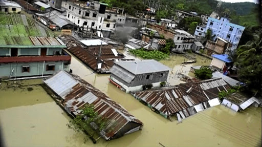 The town of Khagrachari, Bangladesh, is half-submerged in floodwaters following landslides triggered by heavy rain, in this still frame taken from video, on June 13 2017. Picture: REUTERS/REUTERS TV