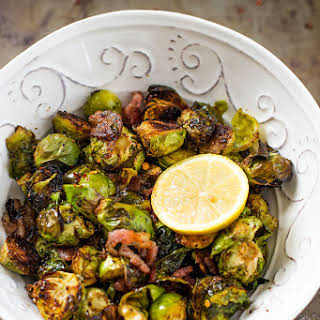 Oven Bacon Brussels Sprouts with Balsamic Vinegar.