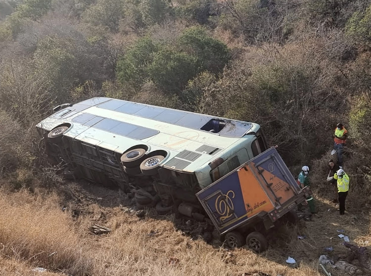 At least 31 people have been confirmed dead after a DMJ bus lost control and overturned on the N2 road between East London and Butterworth on Monday afternoon. Picture SUPPLIED