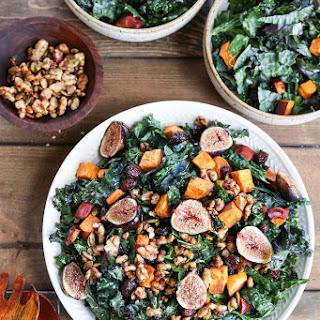 Roasted Sweet Potato and Fig Kale Salad.