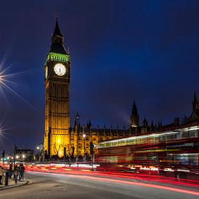 Big Ben in the Night by Sefanya Dirgagunarsa - City,  Street & Park  Vistas ( landmark, travel )
