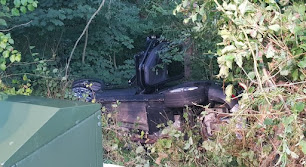 Car down an embankment