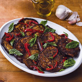 Roasted Eggplant with Roasted Peppers and Fresh Basil.
