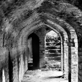 Lobby after main enterence by Vaibhav Jain - Buildings & Architecture Statues & Monuments ( bidar, guard watch points, walls, lobby, black and white, monument, fort, wall,  )