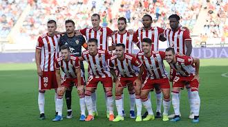 El once del Almería contra el Girona.