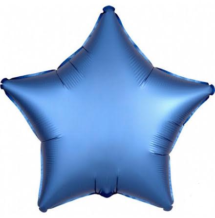 Folieballong Satinstjärna azurblå, 48 cm