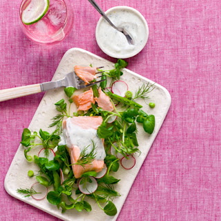 Poached Salmon and Watercress Salad with Dill-Yogurt Dressing