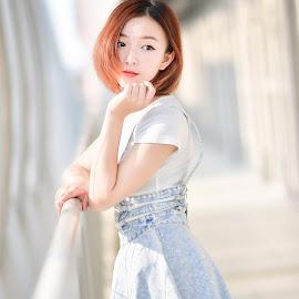 Lovely Bagel  by 敬昕 涂 - People Portraits of Women ( lovely, ?? ?, 85mm, girl, people, nikon, red, lips, sunlight, charming, bokeh, dof, 85mm f/1.4g, bagel, short hair, ??? )