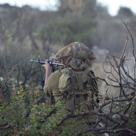A soldier fires a rifle from among the weeds by Yeshaya Dinerstein - People Professional People ( shooting, american, danger, troops, view, commando, sniper, action, military, active, tactical, water, adventure, army, person, background, israeli, silhouette, force, rifle, assault, gun, woman, warrior, tourism, combat, training, infantry, summer, uniform, weapon, security, world, attack, man, park, fight, ammunition, nature, war, people, lifestyle, outdoor, battle, special, marines, soldier, battlefield, israel, armed )