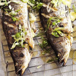 Sea Bass with Papaya Salsa.