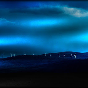 windmills view from sleastary by Morag Soszka - Landscapes Mountains & Hills ( scotland, hills, windmills )