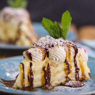 Emeril Lagasse's Banana Cream Pie With Caramel and Chocolate Drizzles