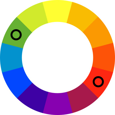 Color wheel with black spots on green and red