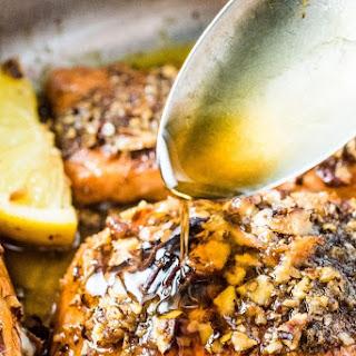 Pecan Crusted Salmon with Garlic Maple Glaze.