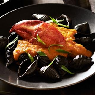 Nero Di Seppia Spaghetti with Squash & Lobster Sauce.