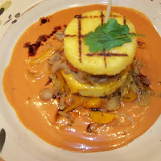 Polenta and Vegetable Tower With A Creamy Coulis.