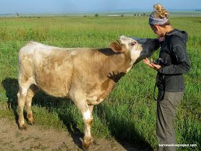 Photo: Liz makes a new friend