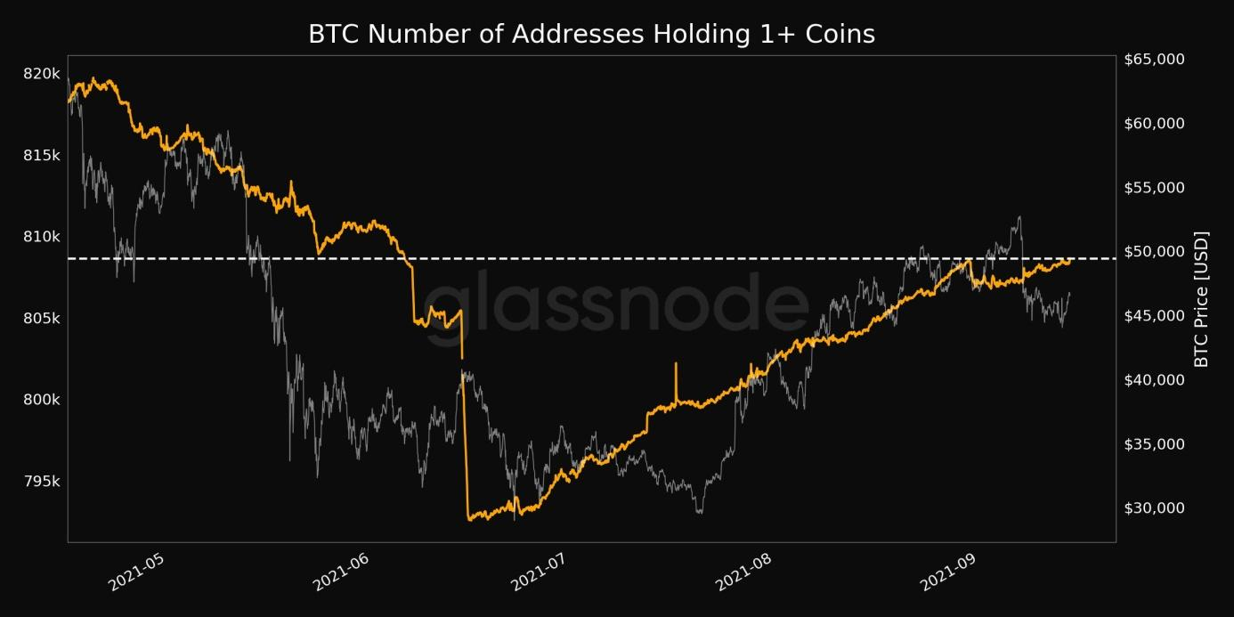 Number of Addresses Holding 1+ Coins just reached a 3-month high of 808,634.jpg
