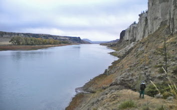 Photo: Exploring the cliffs across from our Thursday night campsite.