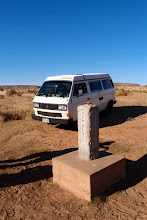 Photo: On 5 miles N to the junction of Colorado, New Mexico and Oklahoma.  Here, El Jefe is parked in Colorado while I am standing on the Oklahoma-New Mexico state line.  The Spot on top is sending the coordinates: 37.00014,-103.00235
