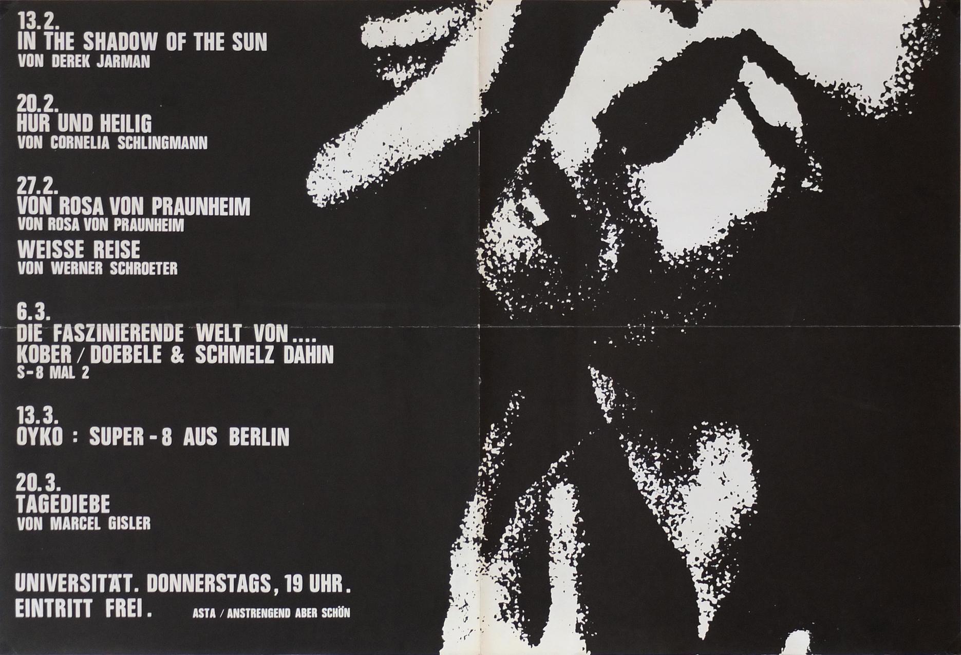 """Photo: Filmserie Universität Bielefeld, 1987 präsentiert von """"Anstrengend aber schön"""" (M.Müller/Chr.Heuwinkel/u.a.) DIN-A2, 40,5 x 60 cm"""