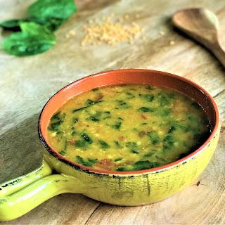 Preparing Spinach Dal in Pressure Cooker.