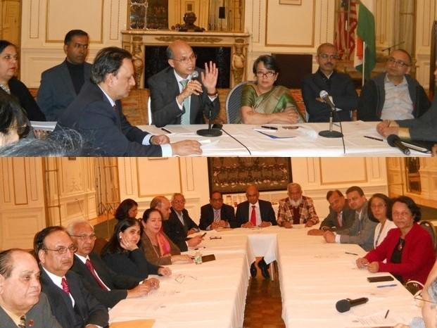 Indian Consul General Iva Gangulay Das and other officials in discussion with GOPIO delegation at the Meeting in New York