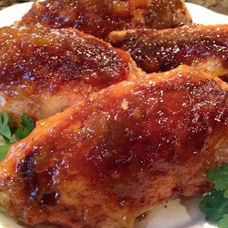 Pressure Cooker Bourbon Peach Glazed Chicken Breasts.