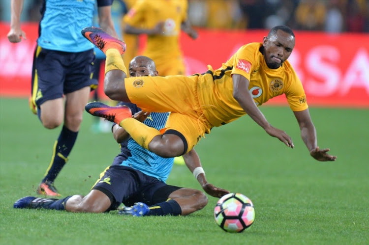 Bernard Parker of Chiefs and Thapelo Morena of Sundowns during the Absa Premiership match between Kaizer Chiefs and Mamelodi Sundowns at FNB Stadium on April 01, 2017 in Johannesburg.