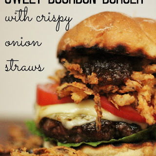 Sweet Bourbon Burgers with Crispy Onion Straws #burgermonth