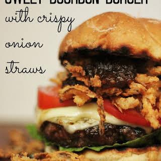 Sweet Bourbon Burgers with Crispy Onion Straws #burgermonth.