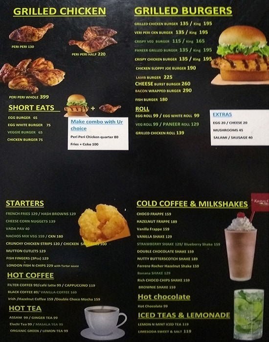 Raenss Cafe menu 1