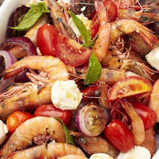 Tomato Mozzarella Salad with Grilled Shrimp