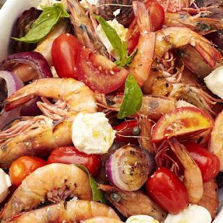 Tomato Mozzarella Salad with Grilled Shrimp.