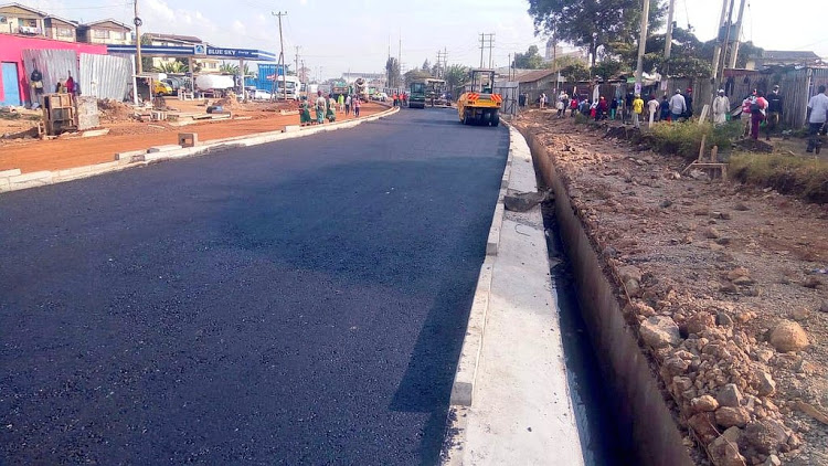 Progress of construction works along Likoni road, section between Jogoo road and Lunga Lunga road on March 26, 2021