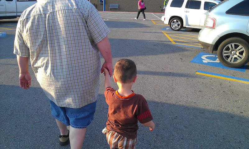 Photo: Hubby and The Boy were ready to shop. They were excited that we were buying Marvel's Avengers toys and Marketside Pizza for a Family Fun Night.
